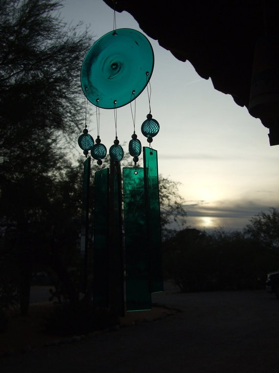 Free Shipping..Aqua and Silver Stained Glass Windchime