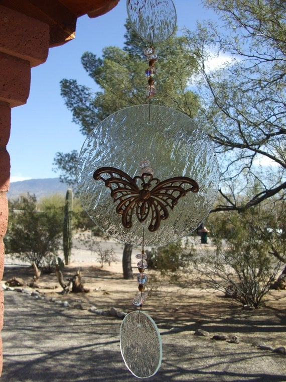 Butterfly Suncatcher with Clear Rippled Glass