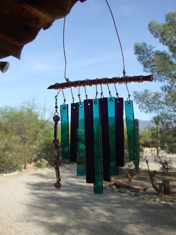 Reserved for Anita...Teal and Amethyst Mini Windchime