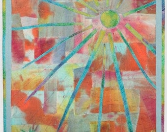 Let The Sun Shine Fiber Art Wall Quilt