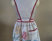 Cross Stitched Linen Apron