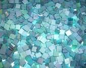 Mini Aquamarine Tumbled Stained Glass Mosaic Tiles