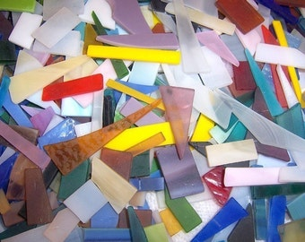 400  Mixed Colors Jumbled Tumbled Stained Glass Mosaic Tiles