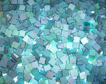 Mini Aquamarine Tumbled Stained Glass Mosaic Tiles