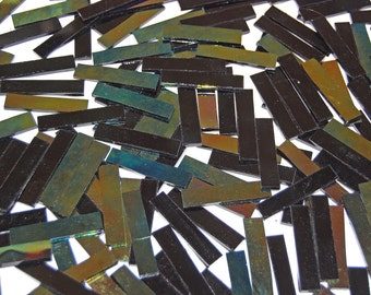 40 2 Inch Black Iridescent Border Stained Glass Mosaic Tiles
