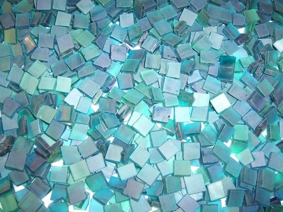 Mini aquamarine tumbled stained glass mosaic tiles for Tumbled glass tile