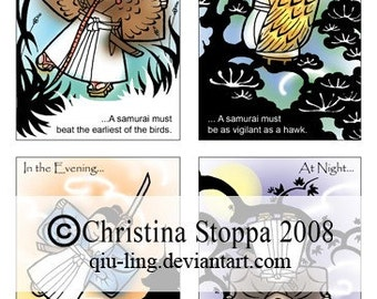 A Samurai Never Sleeps - Original Art Print by Christina Stoppa