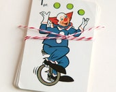 Bozo the Clown, set of 8 Collectible Vintage Children's Playing Cards for Scrapbooking, DIY Paper Crafts or Collecting