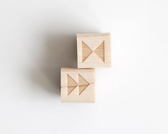 """Triangle Shapes Rubber Stamp (Wood Mounted) Original Geometric Design Set of 2, Double Triangle Mini Duos 1/2"""" size (M1A-1B)"""