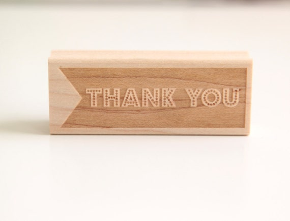 Thank You Rubber Stamp (Wood Mounted), Original Modern Typographic Design