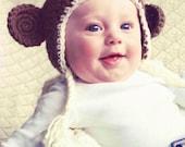 Light Brown Crochet Newborn Baby Tassle Beanie Hat w/ Monkey Ears Photo Prop