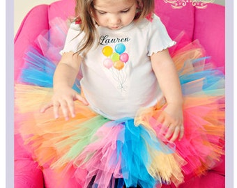 Personalized Birthday Outfit Balloon Birthday Shirt Rainbow Birthday Outfit Custom Birthday Shirt 9 12 18 Month
