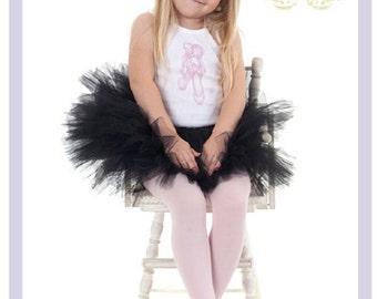Black Tutu Ballerina Outfit Girls Ballet Slippers Toddler Tank Top 2T 3T 4T