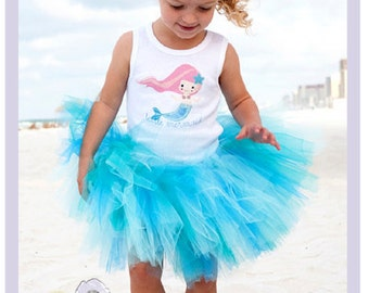 Little Mermaid Tutu Dress Toddler Tank Top Girls Mermaid Costume Summer Tutu 2T 3T 4T