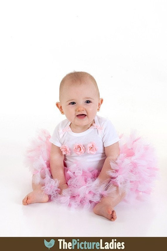 Pink Rose Rosette Petti Tutu Outfit Baby Toddler SO Sweet  6, 9, 12, 18 months
