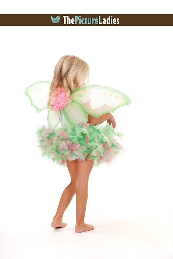 Whimsical Pink Tinkerbell Petti Tutu and Wings Baby Toddler Your Choice Available In Sizes 9 12 18 Months
