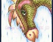 Dragon ACEO Fantasy Art, Raining