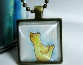 Bird Necklace, Little Bird Original Art Pendant, Glass Tile, Ball Chain