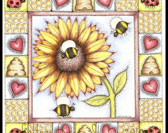 Bumble Bee Illustration, Quilt Folk Art, Quilt Block,  Illustration, Print