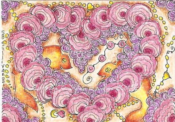 Ocean Art, ACEO, Tidepool Folk Art, Love, OOAK