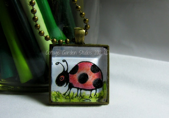 Lady Bug Necklace, Lady Bug Original Art Pendant, Glass Tile, Ball Chain