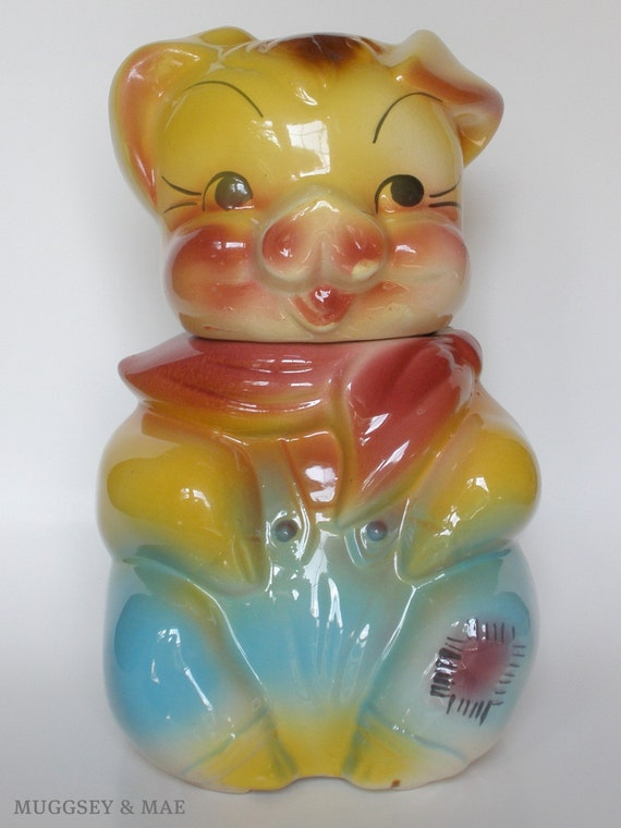 American Bisque Vintage Cookie Jar // Boy Pig with Patch on Pants // 1950's