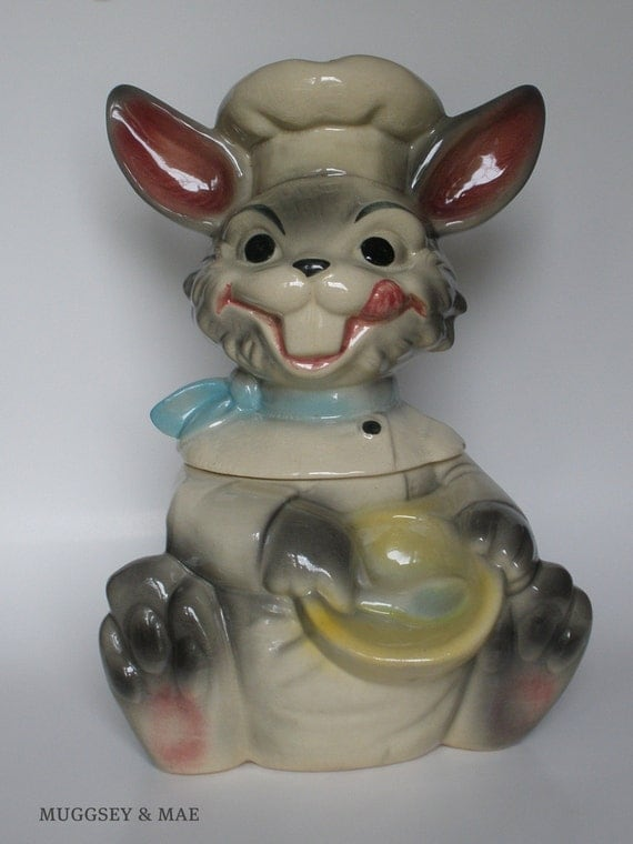 Smiling Chef Gray Bunny Vintage Cookie Jar By Brush Pottery