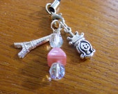Paris Eiffel Tower, Glass Beads and Bead Queen Cell Phone Lariat Charm Loop w\/Lobster Clasp