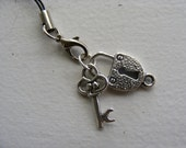 Lock and Key Cell Phone Charm Zipper Pull w\/ Lobster Clasp