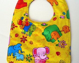 Elephants on Bright Yellow Reversible Baby Bib