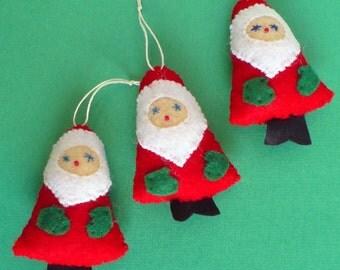 Three Miniature Felt Santa Ornaments