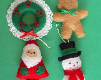 Four Miniature Christmas Ornaments