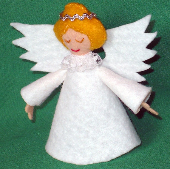 4 Inch Felt Angel Tree Topper for Small by CreationsByJudy on Etsy