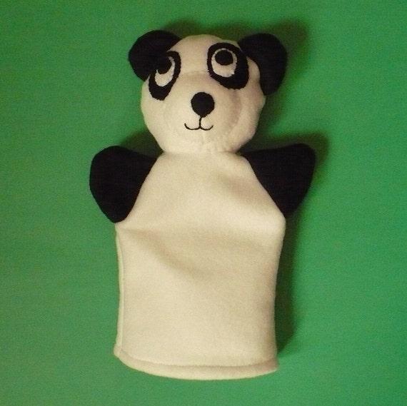 Black and White Fleece Panda Puppet