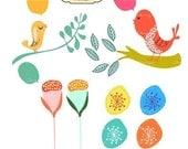 Birds Talk Clip Art C3 for card making, digital scrapbooking,graphic design and paper goods