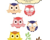 Owl Set No 2 Clip Art  ----------for card making, digital scrapbooking,graphic design and paper goods