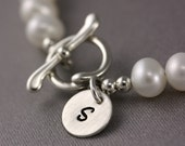 Initial Bracelet - White Pearl Bracelet with Stamped Disc - Personalized