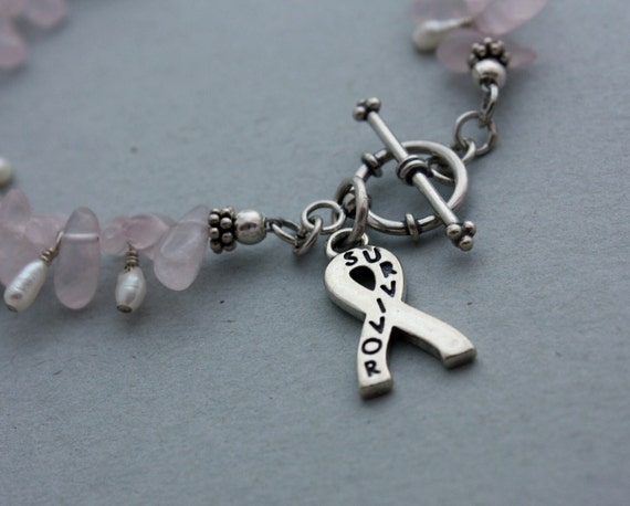 Survivor Bracelet - Rose Quartz Bracelet with Sterling Silver Survivor Ribbon Charm