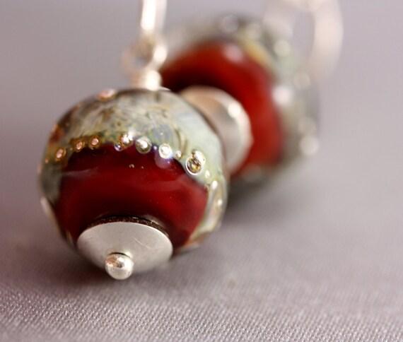 Handmade Lampwork Sterling Silver Earrings - Handmade Red and Silver Lampwork Beads, Chunky Sterling Silver Chain