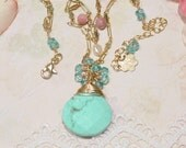 Turquoise 14K Gold Filled beaded necklace, blue