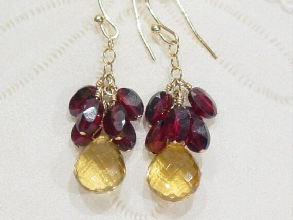 Quartz Garnet 14K Gold Filled dangle earrings, honey quartz, yellow, red