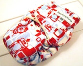 Robots Newborn Fitted Cloth Diaper with Bamboo Velour