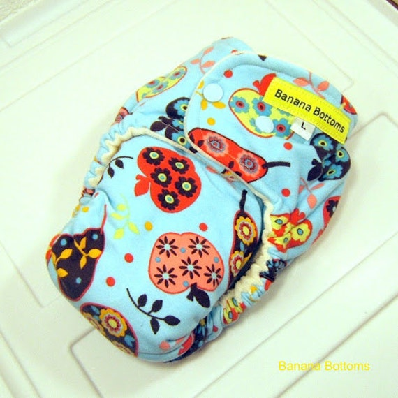 LAST ONE Apples and Pears Large Fitted Cloth Diaper SECONDS