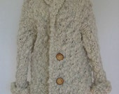 HandKnitted OOAK Extra Warm Unisex Coat Cardigan in organic Patagonian roving - CHAPELCO Large Size