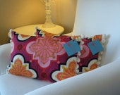 12x18 inch pillow cover w/ Pom Pom Fringe-Pressed Flowers Rose