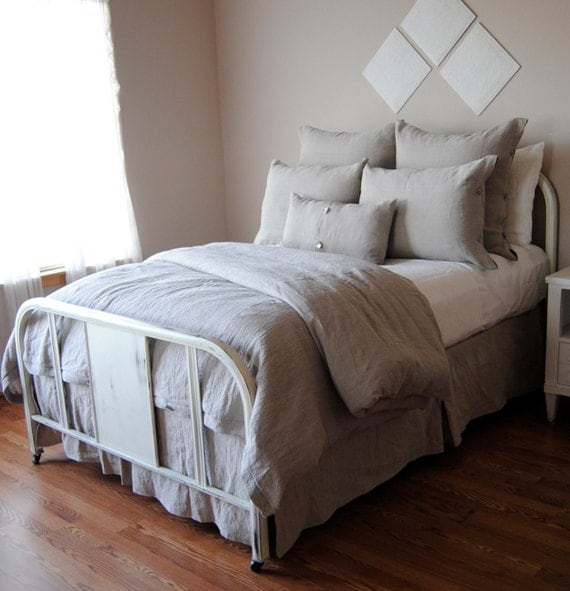 King Size Duvet Cover-Pearl Linen Bedding Collection
