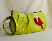 Pleated Wristlet Zipper Pouch - Humming Birds Lime - Last One