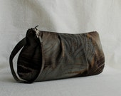 Pleated Wristlet Zipper Pouch - Brown and Gray Leaves - Last One