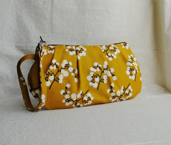 SALE 20% OFF - Pleated Wristlet Zipper Pouch - White Berries in Bright Yellow