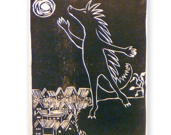 Cakeasaurus Roams (original woodblock print)